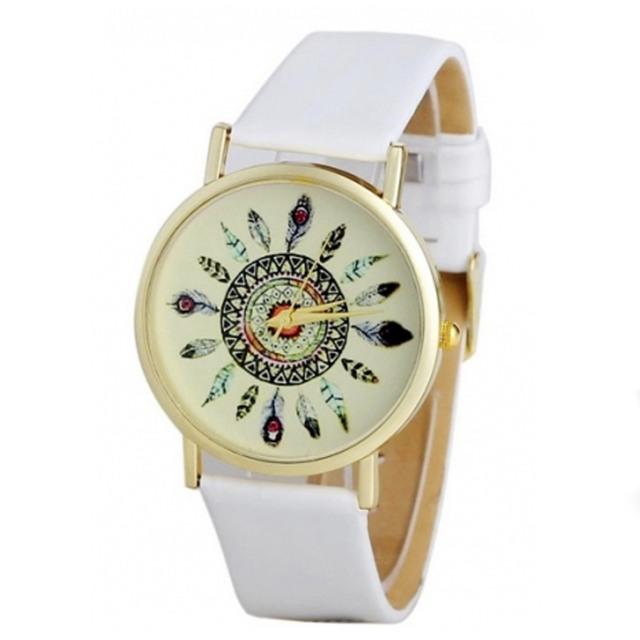 Luxusní dámské hodinky - Indiánské pera - biele - Selmars - Móda a ... e102335da5c