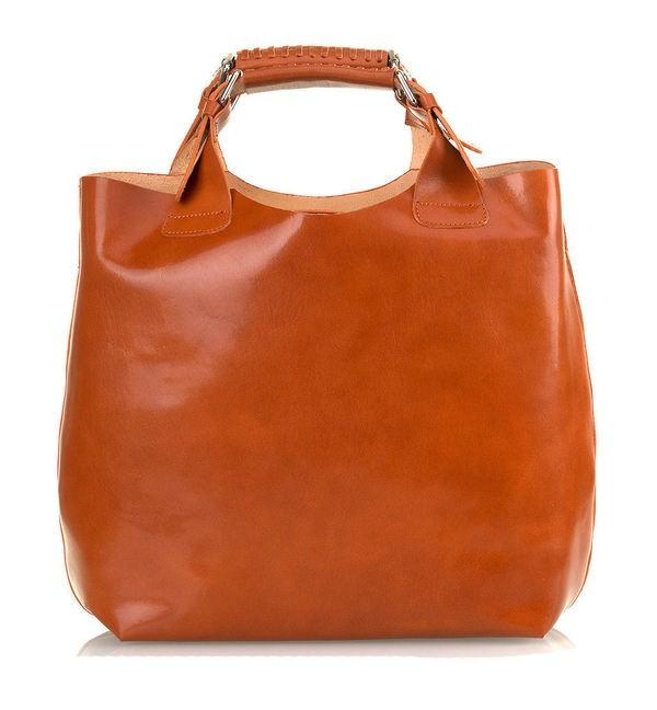5750544f49 Luxusná Talianska Kožená Kabelka Shopper Bag Vera Pelle A4 - Carmel ...