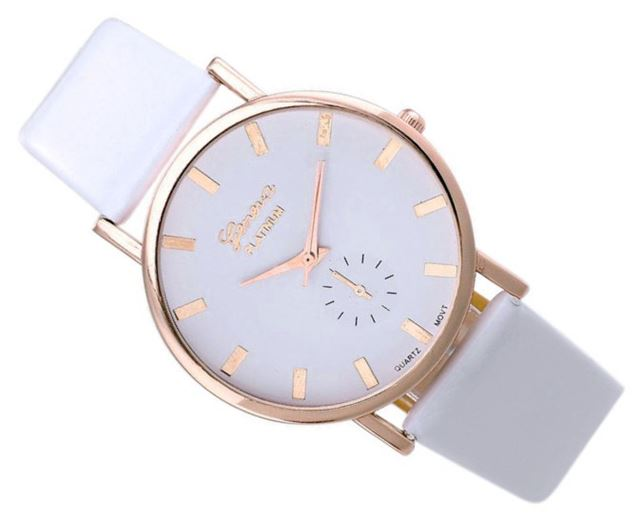 Luxusné dámske hodinky Geneva Platinum Classic Biele - Selmars ... 02c77d245e5