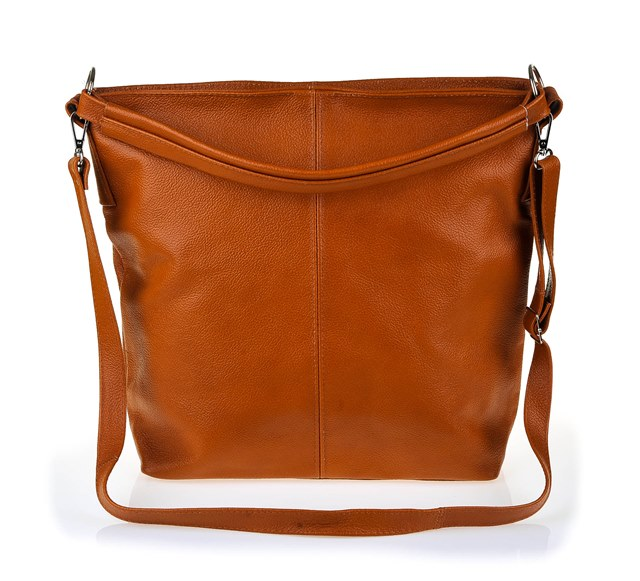 Dámska kožená kabelka cez rameno Crossbody - hnedá camel 15D ... 64805261e4b