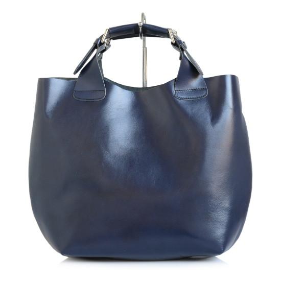 d0db8fdbf5 Luxusná Talianska Kožená Kabelka Shopper Bag Vera Pelle A4 - tm. modrá