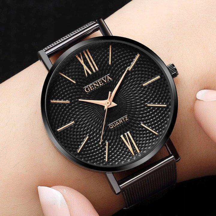 Luxusné dámske kovove hodinky Geneva Effect Black (čierne) - Selmars ... a6e8e5ee0fd