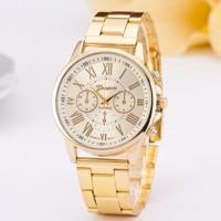 Luxusní dámské hodinky Geneva zláte rimske čisla. dd65183afa7